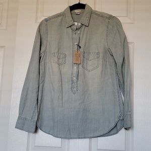 J Crew Factory Light Wash Chambray Half Button Up